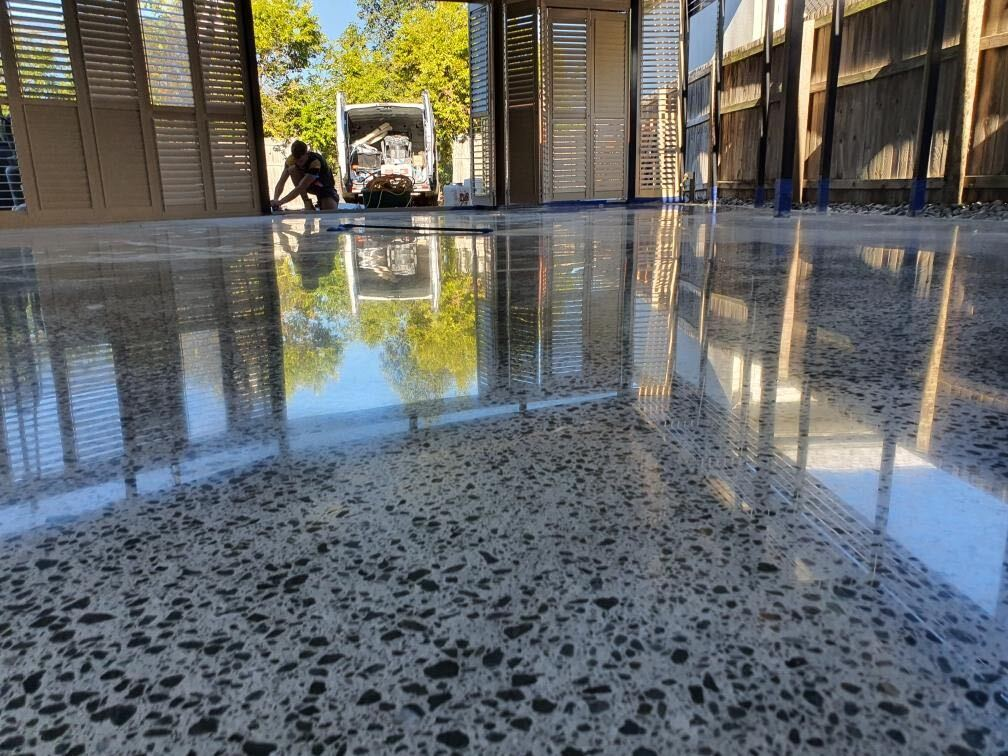 high gloss polished concrete floor in Brisbane