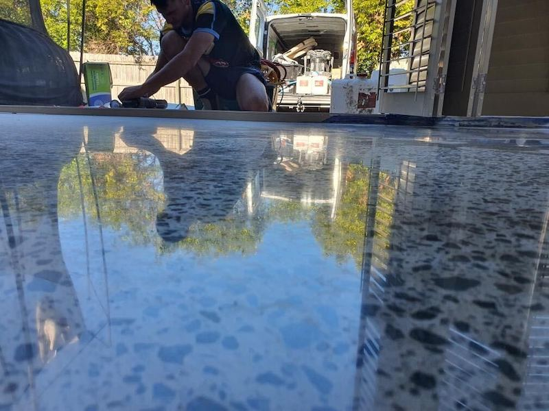 polished concrete patio floor in brisbane